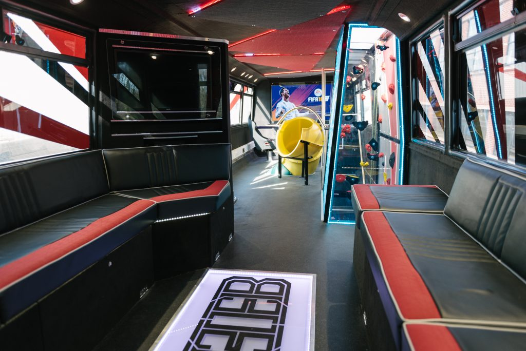 Eden Bus inside is filled with all modern computer games