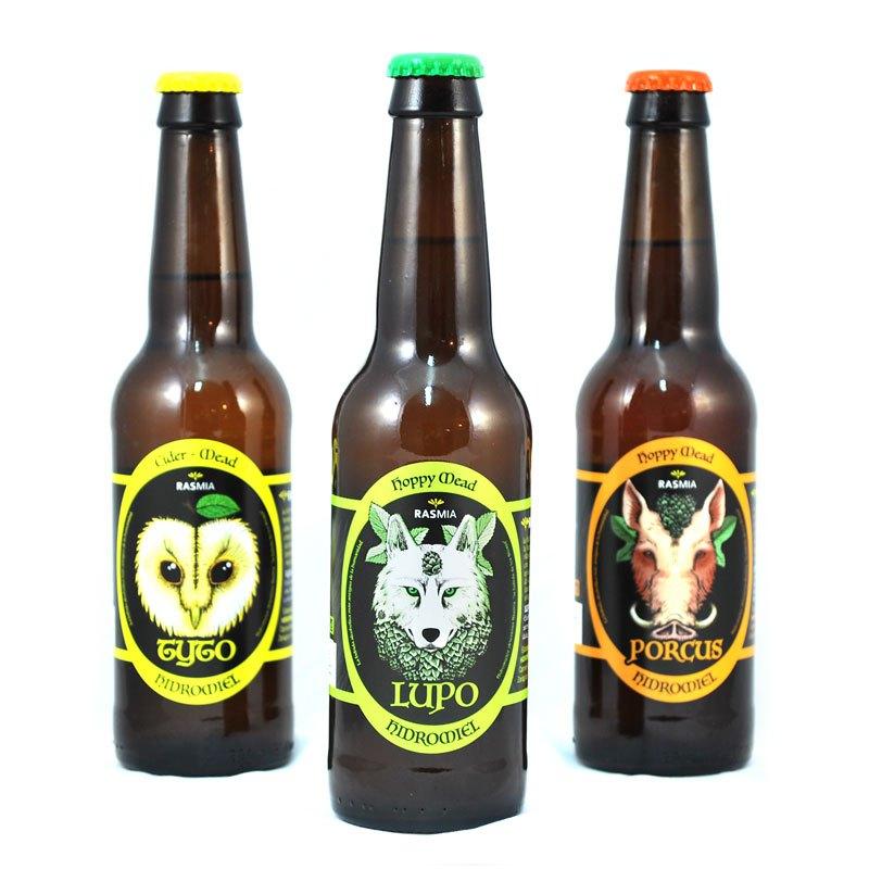 Las variedades Rasmia Lupus, Porcus y Tyto en botellas de cl.  Todas disponibles en 2D2Dspuma.