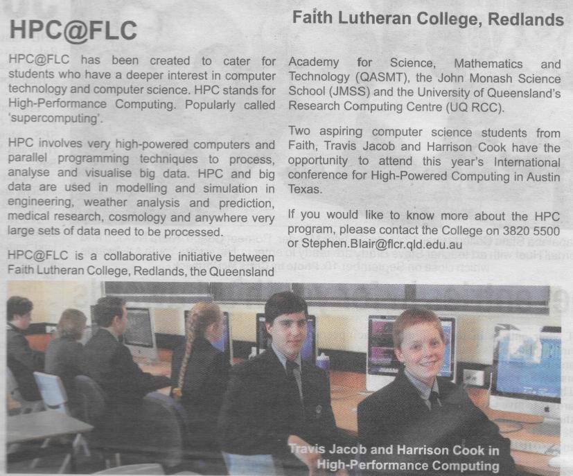 HPC@FLC in the Bayside Bulletin
