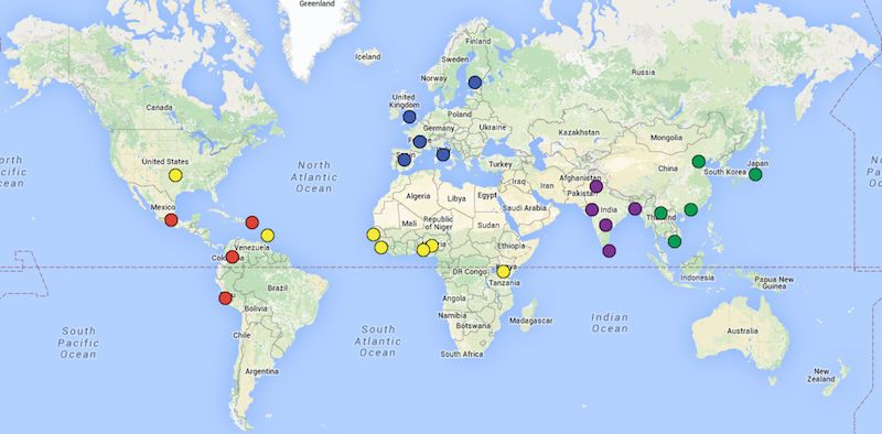 1000 Genomes Project population map