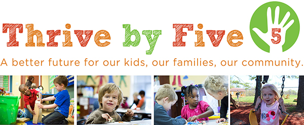 Thrive by Five Logo with Photos of Children