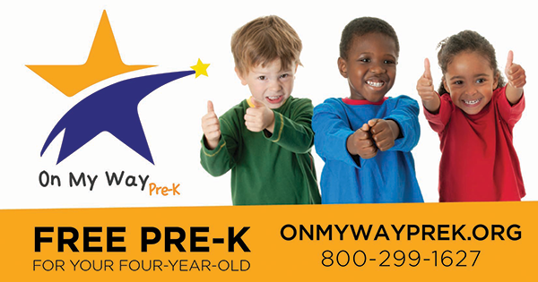 On My Way Pre K logo and contact information