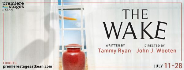 The Wake at Premiere Stages at Kean University, written by Tammy Ryan, Directed by John J. Wooten, July 11 - 28; a white crane perches outside a seaside window with sheer white curtains in front of which sits a red urn