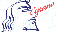 """a line drawing of an Elizabethan man with a cript """"Cyrano"""" for a nose"""