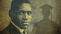 a photograph of Paul Robeson with a silhouetted graduate in cap and gown in the background