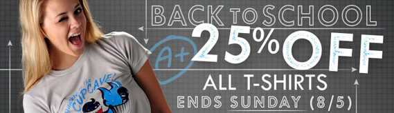 Back to School Sale, 25% off