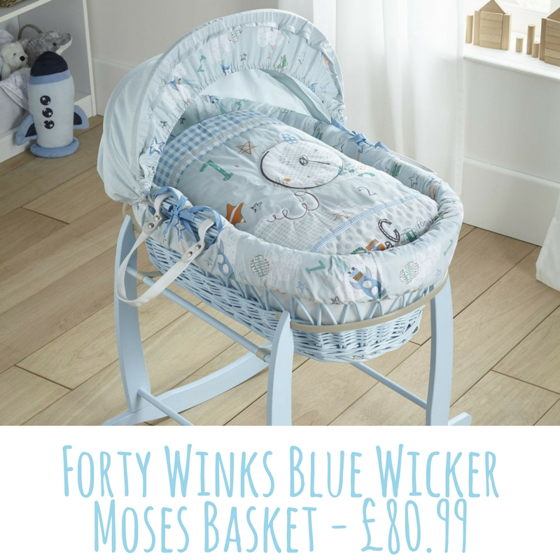 Clair de Lune Forty Winks Blue Wicker Moses Basket