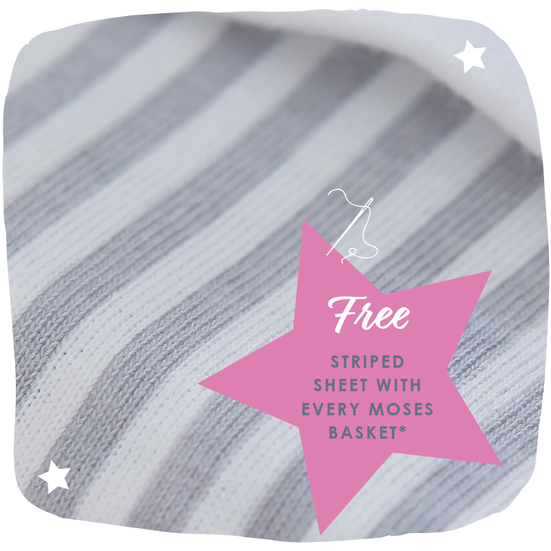 Clair de Lune Striped Sheet with Every Moses Basket order