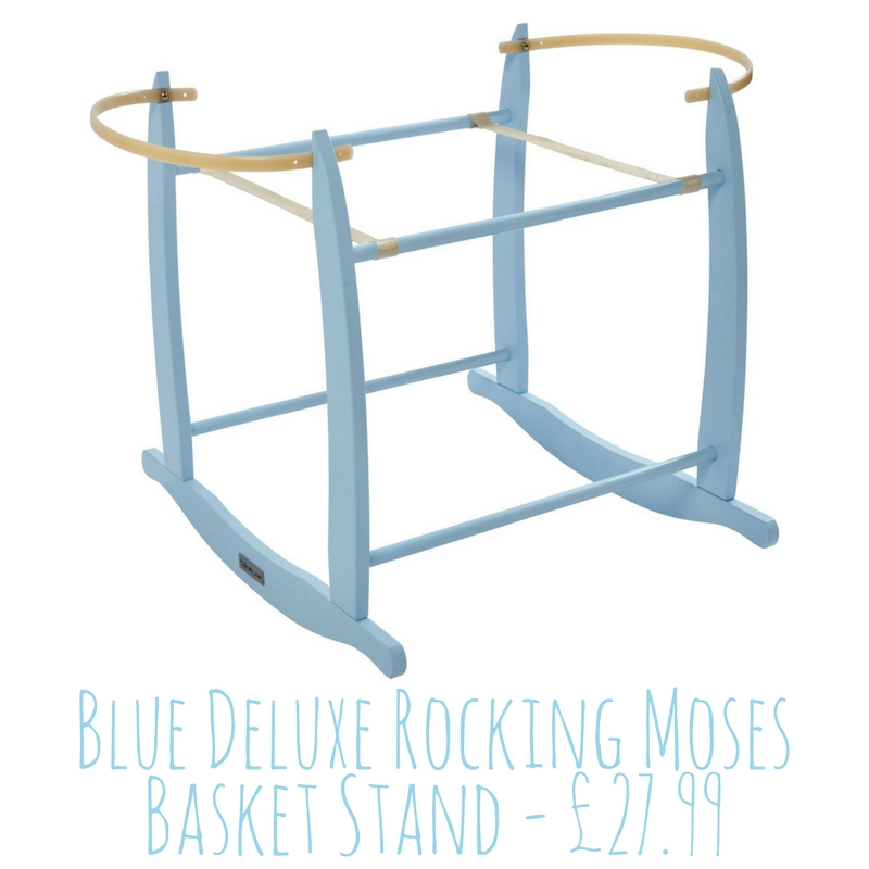Clair de Lune Blue Deluxe Rocking Moses Basket Stand