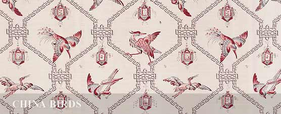 CHINA BIRDS  linen by Bennison Fabrics