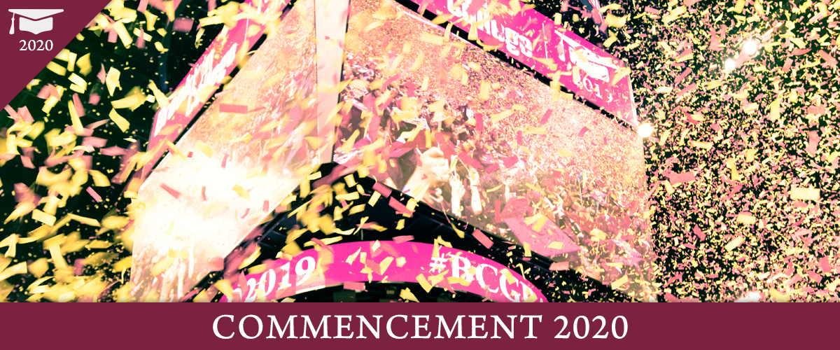 The center scoreboard screens of Barclays as confetti falls, marking the end of the 2019 Brooklyn College Commencement ceremony at Barclay's. Overlay copy: Commencement 2020