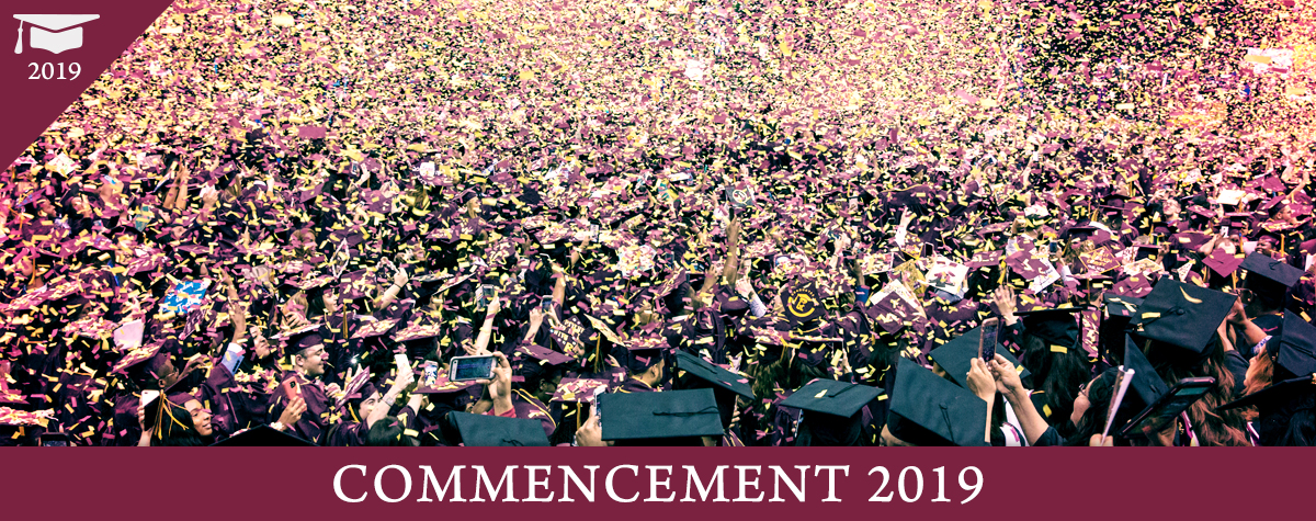 Gold and maroon confetti falling over graduate students in black caps and gowns at the Brooklyn College 2018 Commencement ceremony.