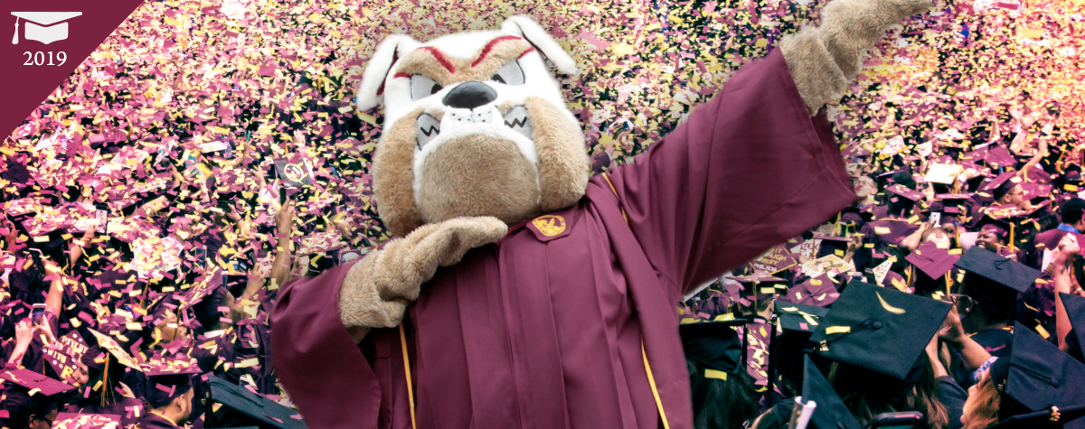 Brooklyn College mascot Buster Bulldog dabbing, overlayed on an image of the confetti fall at the 2018 Brooklyn College 2018 Commencement ceremony