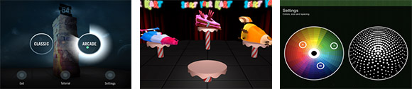 Menus and settings examples from Block 54, Wreck It Ralph: Sugar Rush, and Gravilux.