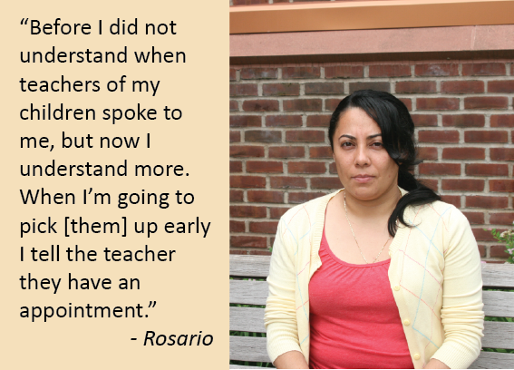 Rosario: Before I did not understand when teachers of my children spoke to me, but now I understand more. When I pick them up early I tell the teacher they have an appointment.