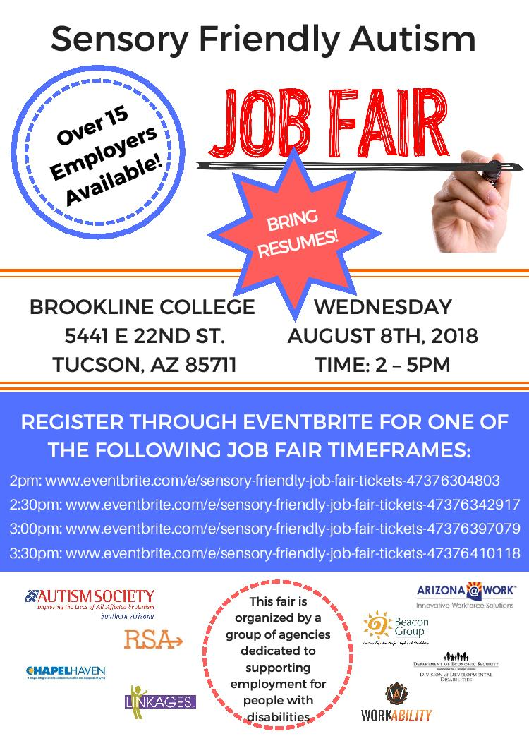 Sensory Friendly job fair flyer