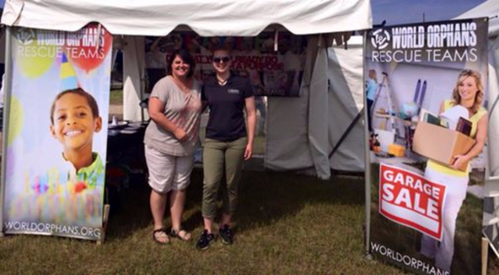 Amie and Me working the tent