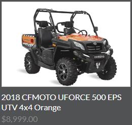 2018 CFMOTO UFORCE 500 EPS UTV 4x4 Orange
