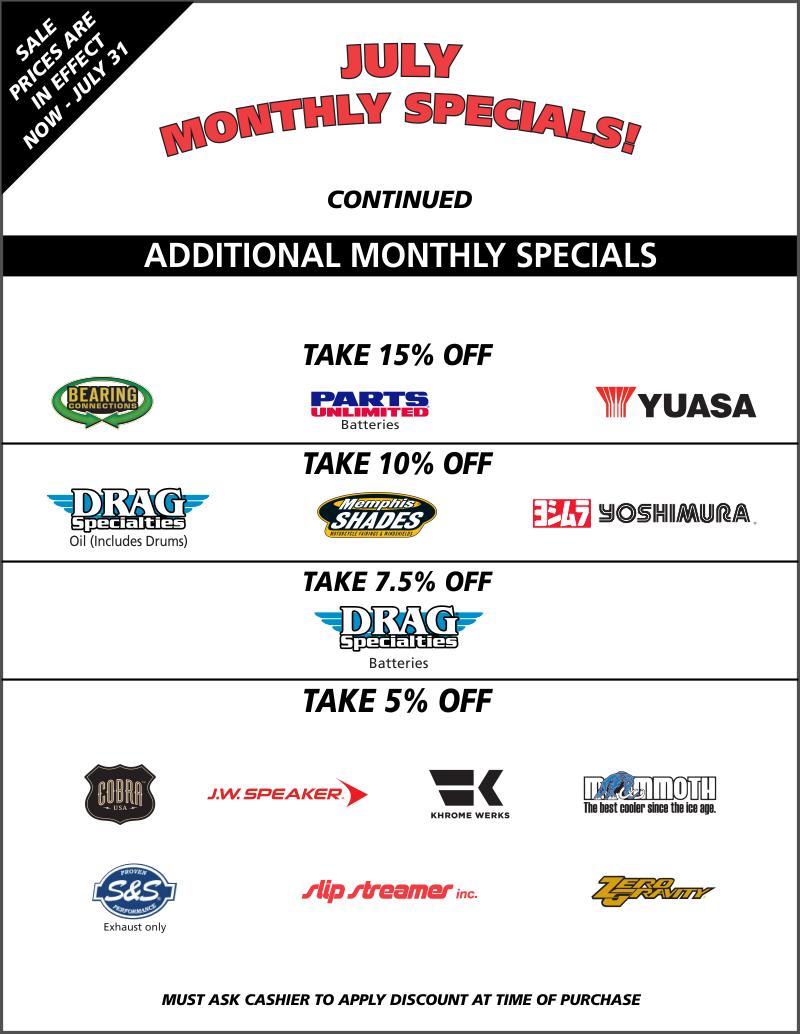 TT July Monthly Specials