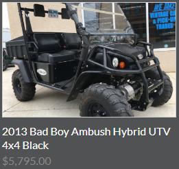 2013 Bad Boy Ambush Hybrid UTV 4x4 Black