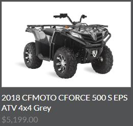 2018 CFMOTO CFORCE 500 S EPS ATV 4x4 Grey