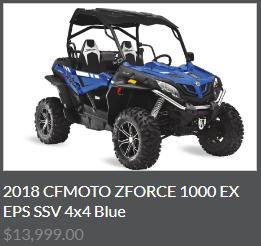 2018 CFMOTO ZFORCE 1000 EX EPS SSV 4x4 Blue