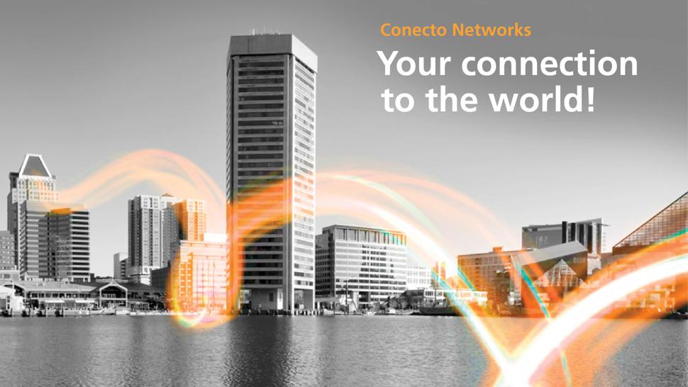 Bedrijfsgebouwen waarbij met een lichtcurve de data verbinding wordt weergegeven.