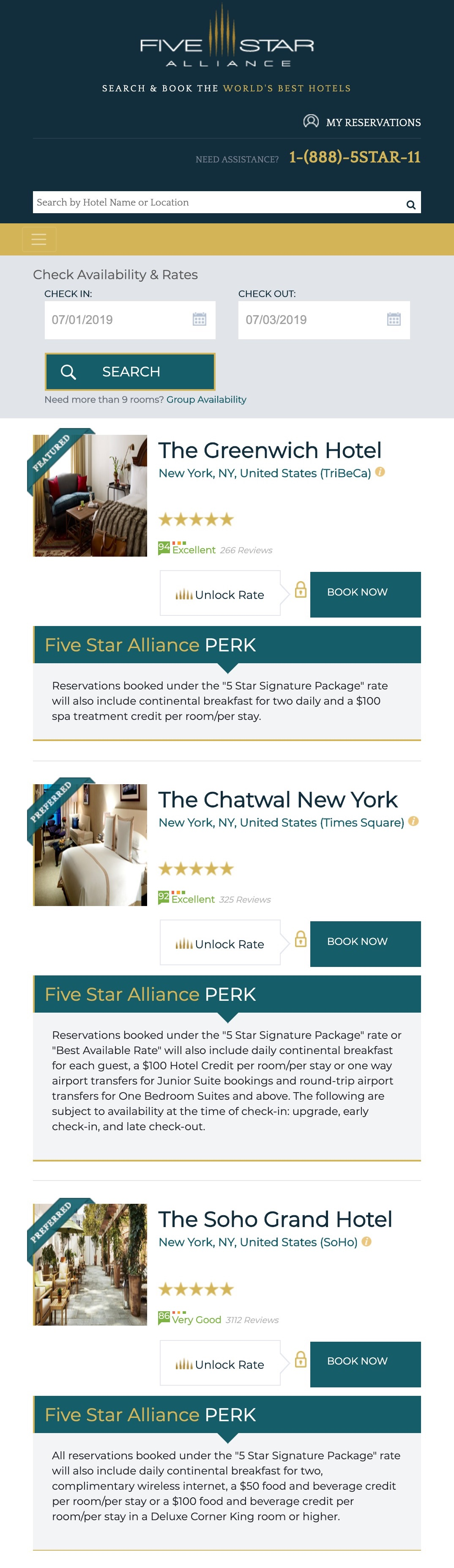 Mobile Listing Page Example