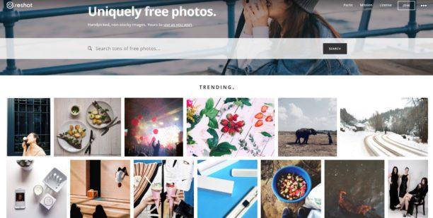 Reshot : moteur de recherche de photos libres de droits