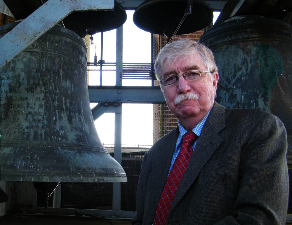 David Osburn with the carillon bells.