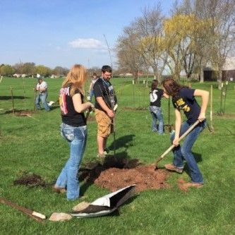 high school students planting trees