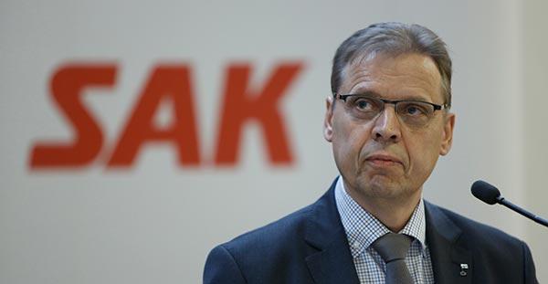 SAK:n puheenjohtaja Lauri Lyly. Kuva: Patrik Lindström