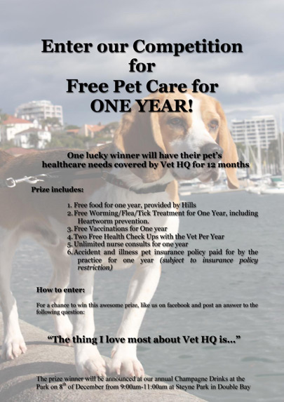 Enter our Competition for Free Pet Care for ONE YEAR!