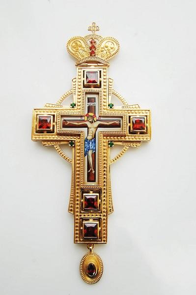 Brass Gold Plated Pectoral Cross - 327