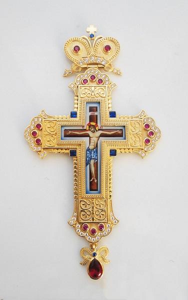 Brass Gold Plated Pectoral Cross - 356