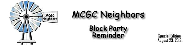 MCGC Neighbors - Block Party Reminder