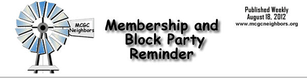 MCGC Membership and Block Party