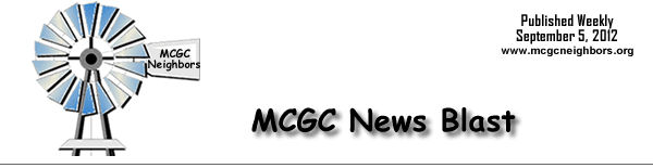 MCGC News Blast for September 5, 2012