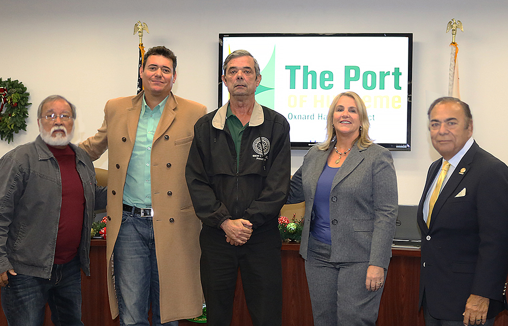 Oxnard Harbor Commission Secretary Jess Ramirez; Commissioner Jason Hodge; Tony Skinner, President of the IBEW Local 952; President Mary Anne Rooney, Vice President Jess Herrera