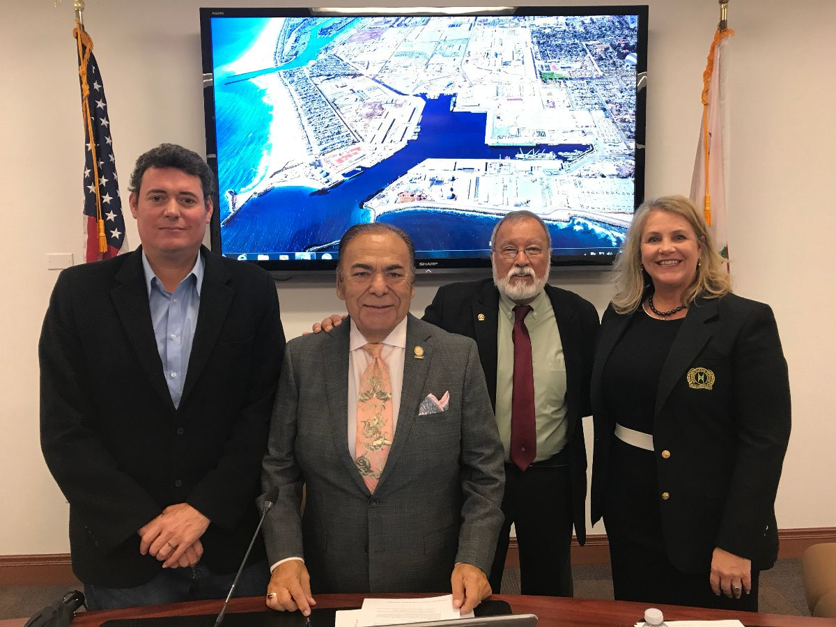 Oxnard Harbor District Secretary Jason T. Hodge, President Jess Herrera, Vice President Jess Ramirez, Commissioner Mary Anne Rooney