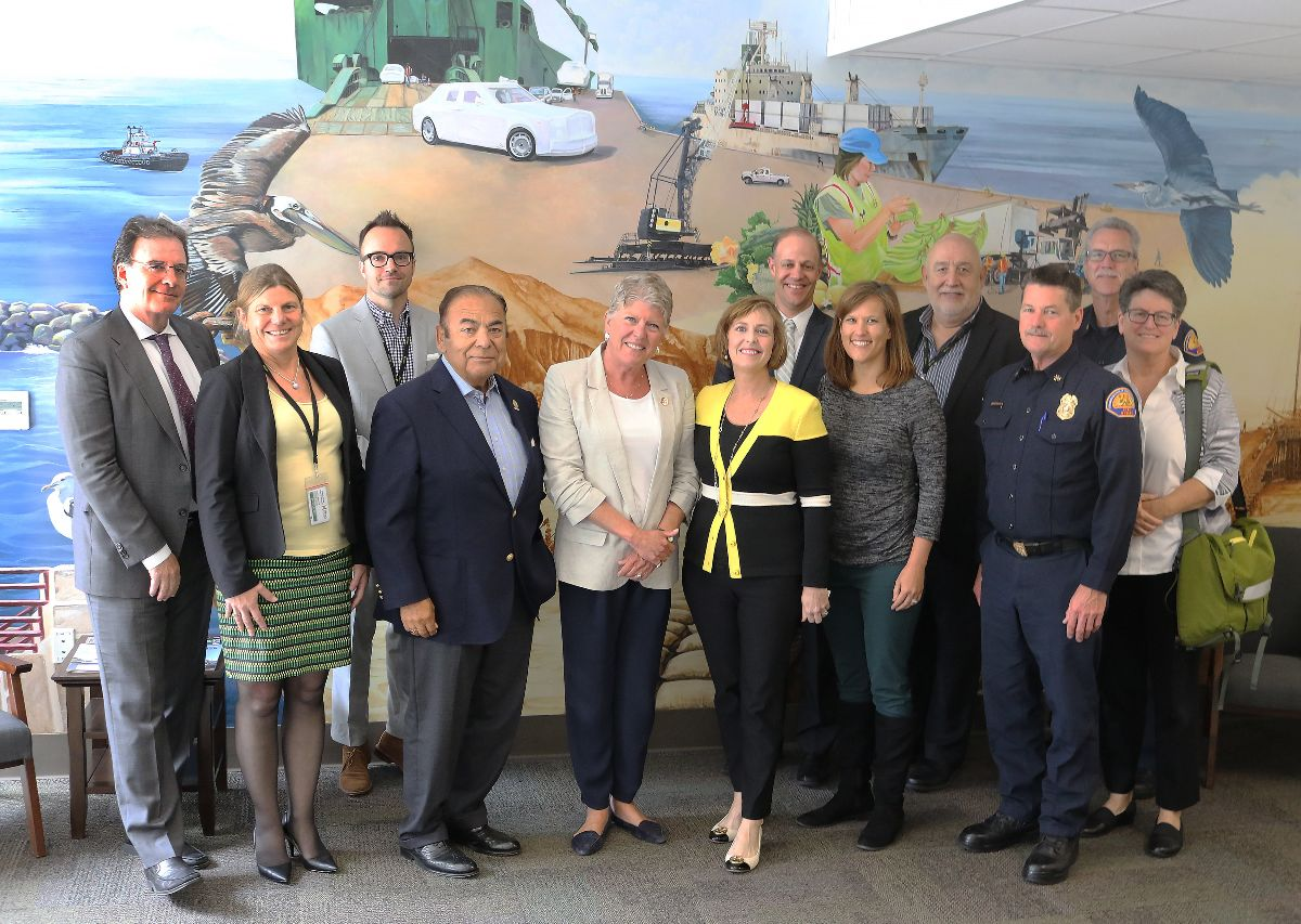 From left: Jonathan Parfrey, Executive Director, Climate Resolve; Kristin Decas, Port Director and CEO; Giles Pettifor, Environmental Manager, Port of Hueneme; Jess Herrera, Oxnard Harbor District President; Congresswoman Julia Brownley, Congresswoman Kathy Castor; Dave Pedersen, General Manager, Las Virgenes Municipal Water District; Alyssa Mann, Nature Conservancy; Andrew Palomares, Port Deputy Executive Director, CFO/CAO; John Salvate, California Governor's Office of Emergency Services (CalOES) Assistant Chief; Dave Stone, California Governor's Office of Emergency Services (CalOES) Assistant Chief; Karen Schmidt, Regional Affairs Manager, Clean Power Alliance