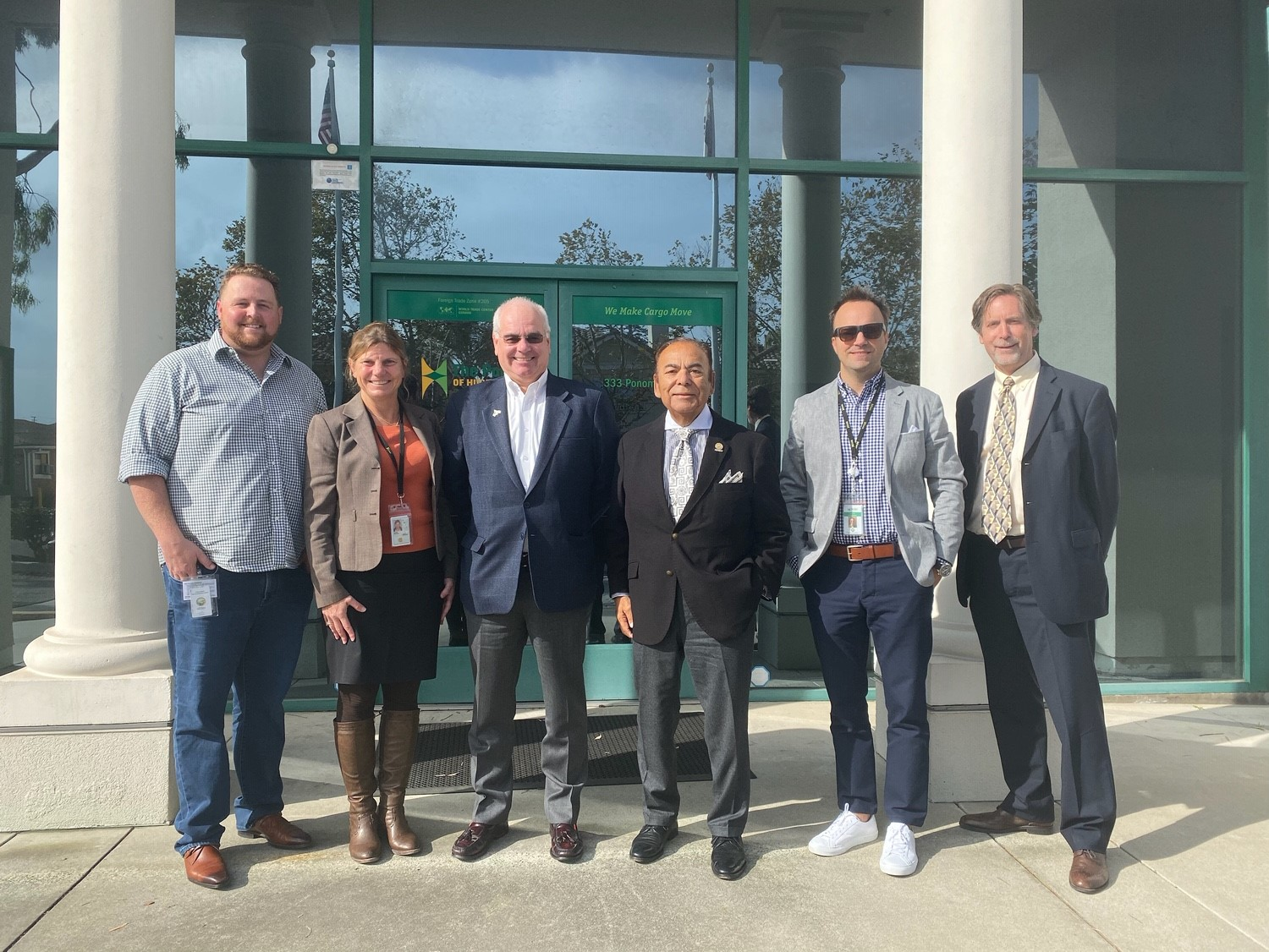Pictured L to R: Port Public & Government Relations Manager Cam Spencer, CEO & Port Director Kristin Decas, GoBiz Director Lenny Mendonca Oxnard Harbor District President Jess Herrera, Port Environmental Manager Giles Pettifor, Economic Development Collaborative President and CEO Bruce Stenslie