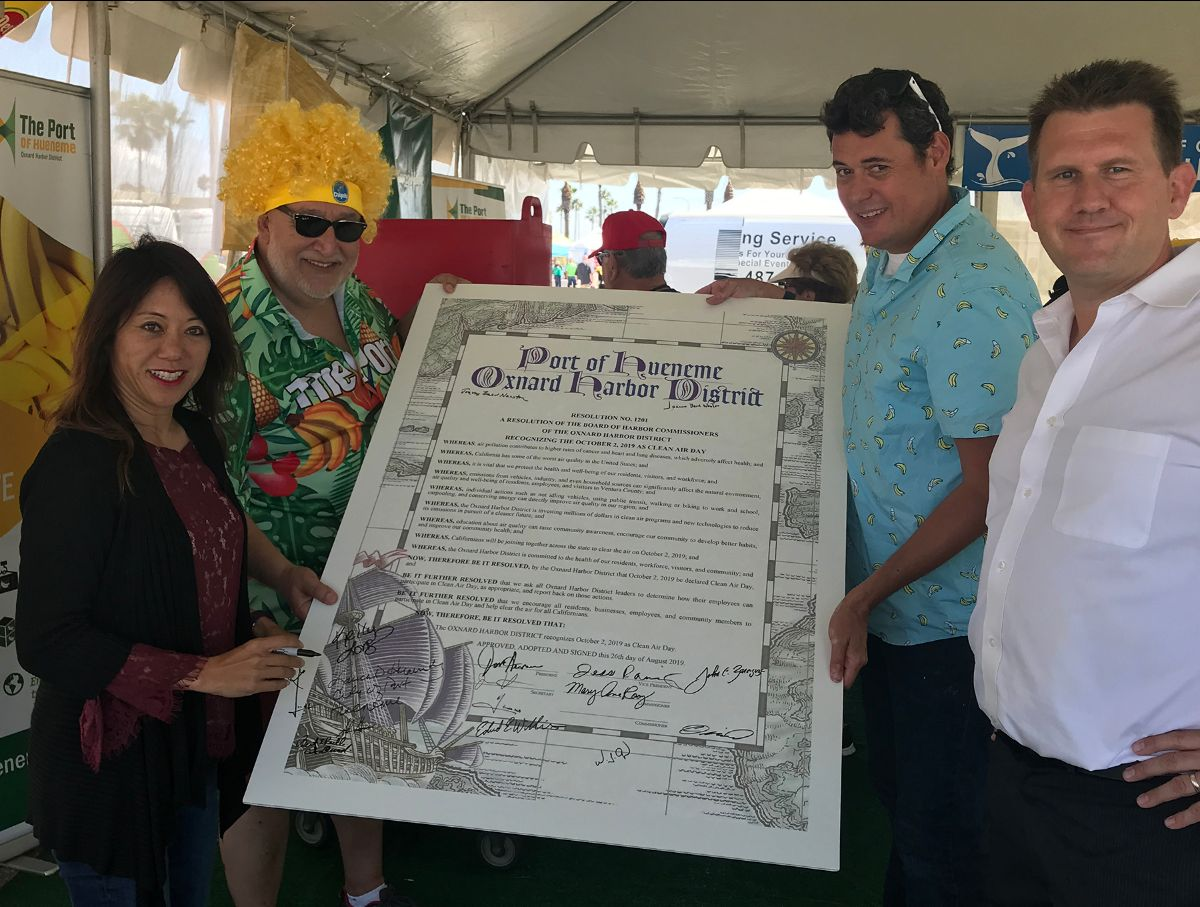California State Treasurer Fiona Ma, Port Deputy Executive Director CFO/CAO Andrew Palomares, OHD Secretary Jason Hodge, and Coalition for Clean Air Day Development Director Brian Sheridan