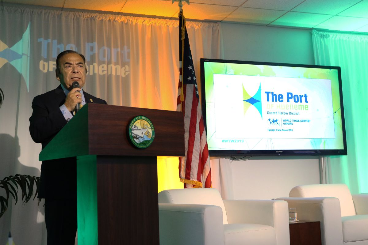 "Oxnard Harbor District President Jess Herrera welcomes attendees to the Port's World Trade Week event, ""Going Around the World in Trade"""
