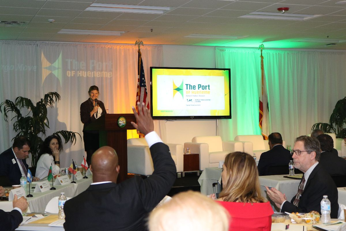 Port of Hueneme CEO & Port Director, Kristin Decas emcees the event
