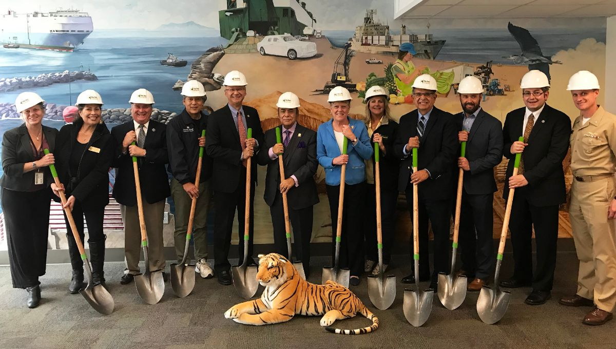 Kristin Decas, CEO & Port Director, Port of Hueneme; Port Hueneme Mayor Pro Tem Laura D. Hernandez; Port Hueneme Mayor Will Berg; Port Hueneme Council Member Steven Gama; Eric Shen, Mid-Pacific Director for MARAD, U.S. Department of Transportation; Oxnard Harbor District President Jess Herrera; Congresswoman Julia Brownley; Oxnard Harbor District Commissioner Mary Anne Rooney; Ventura County Supervisor John C. Zaragoza; Matt Guthrie, Field Representative for Supervisor Kelly Long; Jonathan Elías Alvarez-Alzua, Deputy Consul, Consulado de México en Oxnard; Captain Jeff Chism, Commanding Officer, Naval Base Ventura County