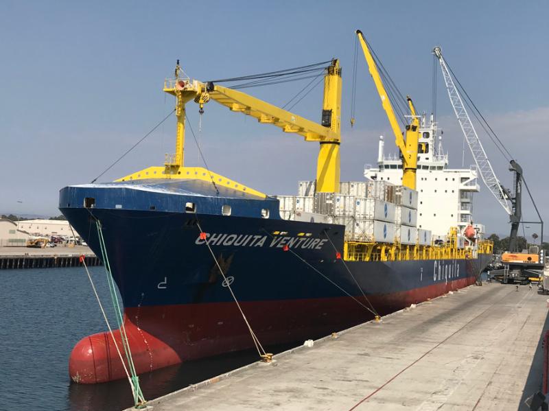The Chiquita Venture vessel prepares to unload bananas at the Port of Hueneme