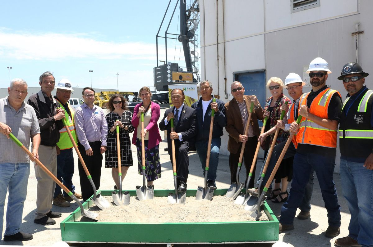 (from left to right) City of Oxnard Councilmember Bert Perello, Tony Skinner of Tri Counties Building and Trades Council, Andy Castillo of LiUNA!, Andrew Munson representing Asm. Irwin; Patty Quiroz representing Sen. Jackson; CEO & Port Director Kristin Decas; Oxnard Harbor District President Jess Herrera; Port Hueneme City Councilmembers Steven Gama and Rich Rollins, Oxnard Chamber of Commerce CEO Nancy Lindholm; Tim Viola and Nick Shipp of Viola Constructors, Inc.; and Armando Delgado of the Southwest Regional Council of Carpenters.