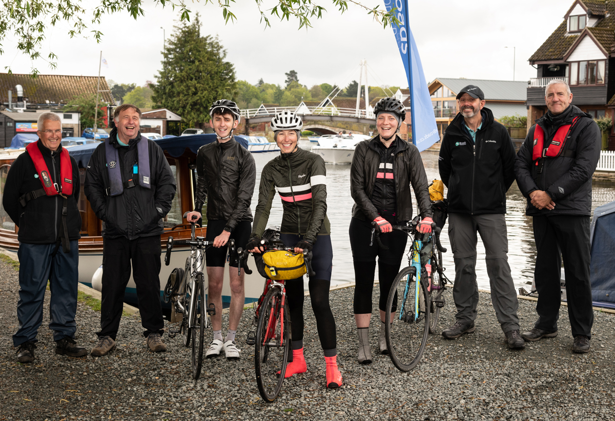 Lorna and Grace with Broads Authority staff at the finish line in Hoveton