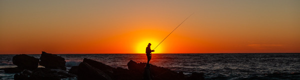 Fishing at the seashore at sunset